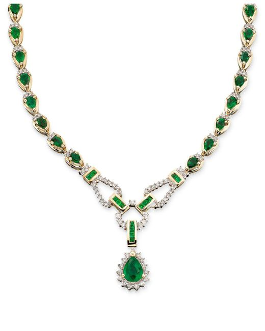 Macy's | Green Sapphire (12-1/3 Ct. T.w.) And Diamond (1-1/5 Ct. T.w.)toggle Necklace In 14k White Gold (also In Ruby & Emerald) | Lyst