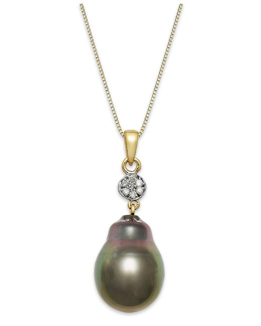 Macy's - Metallic Baroque Tahitian Pearl (12 Mm) And Diamond Accent Pendant Necklace In 14k Gold - Lyst