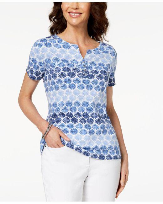 Karen Scott - Blue Printed Henley T-shirt, Created For Macy's - Lyst
