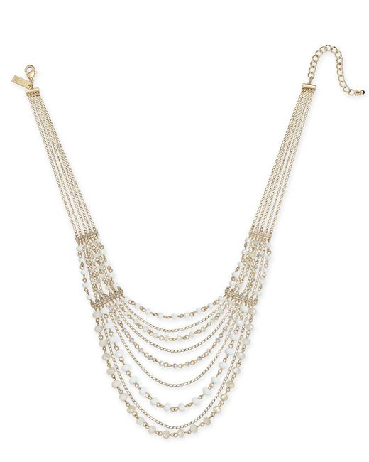"""INC International Concepts - Metallic I.n.c. Gold-tone Crystal & Bead Multi-row Statement Necklace, 18"""" + 3"""" Extender, Created For Macy's - Lyst"""