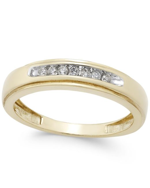 Macy's - Metallic Men's Diamond Band (1/6 Ct. T.w.) In 10k Gold - Lyst