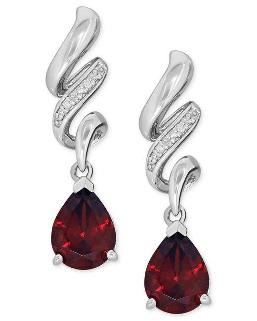Macy's - Red Garnet (2-5/8 Ct. T.w.) And Diamond Accent Swirl Drop Earrings In Sterling Silver - Lyst