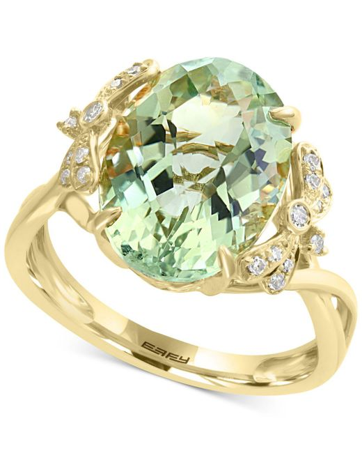 Effy Collection - Effy® Green Amethyst (5-9/10 Ct. T.w.) & Diamond (1/10 Ct. T.w.) Ring In 14k Gold - Lyst
