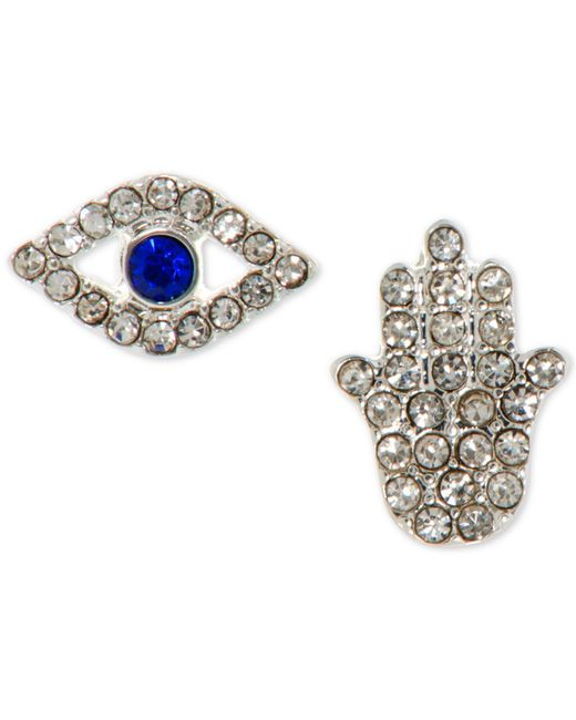 Lonna & Lilly - Metallic Silver-tone Crystal Evil Eye & Hamsa Mismatch Stud Earrings - Lyst
