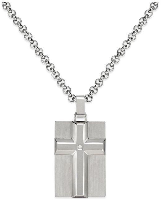 Macy's - Metallic Men's Diamond Accent Raised Cross Pendant Necklace In Stainless Steel - Lyst