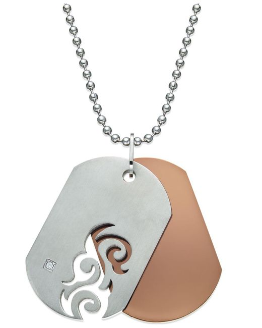 Macy's - Gray Men's Diamond Accent Cutout Dog Tag Necklace In Stainless Steel - Lyst