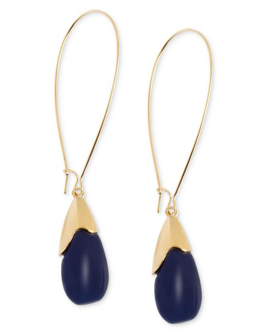 Robert Lee Morris - Metallic Earrings, Gold-tone Blue Oval Bead Drop Earrings - Lyst