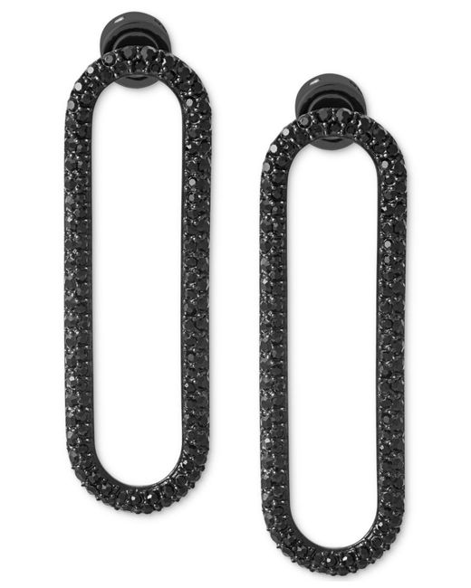 Michael Kors | Black Ion-plated Pavé Drop Hoop Earrings | Lyst