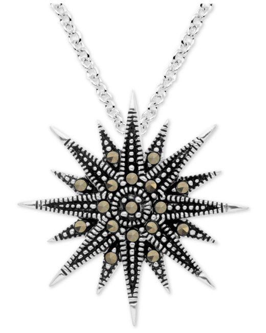 "Macy's - Metallic Marcasite Starburst 18"" Pendant Necklace In Fine Silver-plate - Lyst"