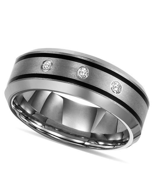 Triton - Metallic Tungsten Ring, Diamond Wedding Band (1/10 Ct. T.w.) - Lyst