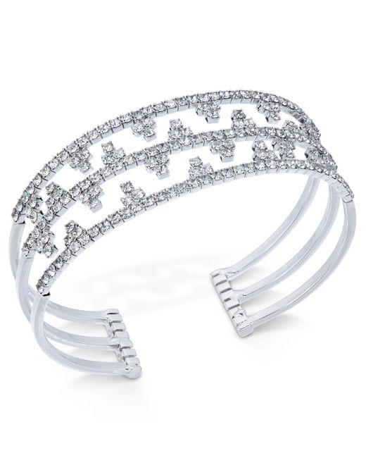 INC International Concepts - Metallic Concepts Silver-tone Openwork Pavé Cuff Bracelet - Lyst