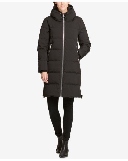 DKNY - Black Hooded Cinch Bottom Cocoon Puffer Coat, Created For Macy's - Lyst