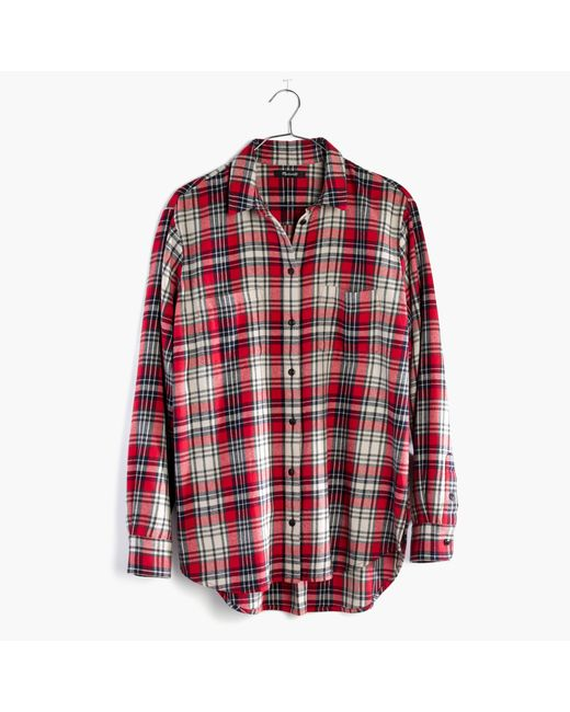 Madewell | Red Flannel Oversized Ex-boyfriend Shirt In Carl Plaid | Lyst