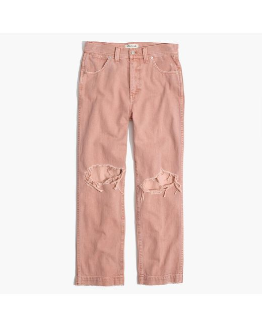 Madewell | Pink X Where I Was Fromtm Slim Straight Crop Jeans | Lyst