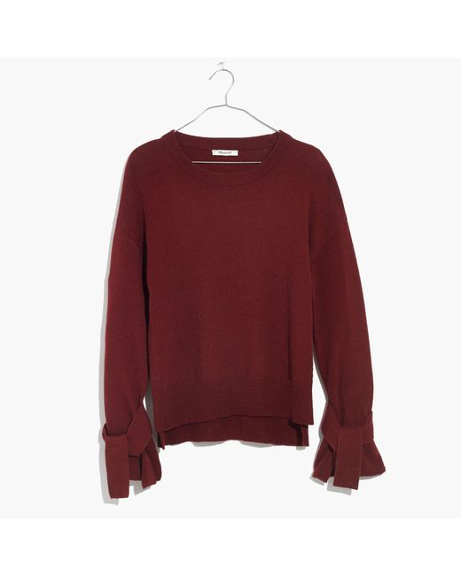 Madewell   Red Tie-cuff Pullover Sweater   Lyst