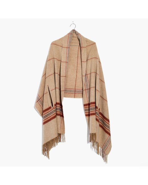 Madewell   Natural Plaid Cape Scarf   Lyst