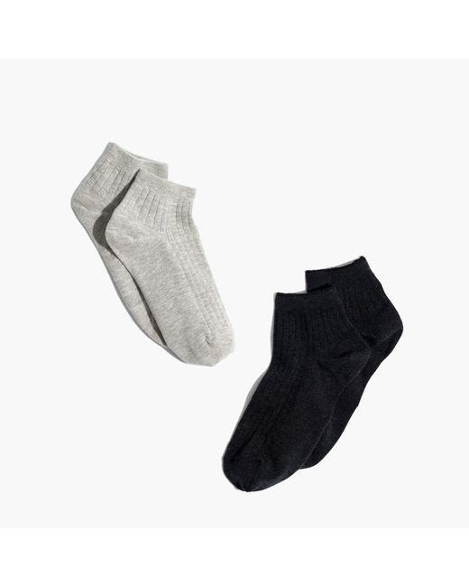 Madewell | Gray Two-pack Ribbed Heather Ankle Socks | Lyst