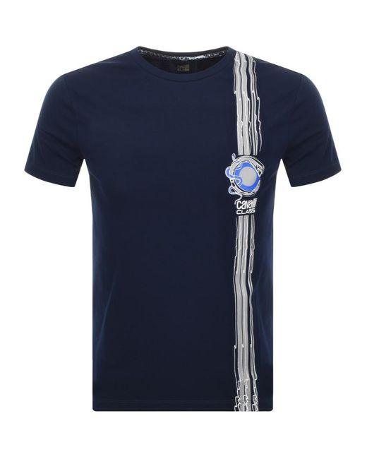 24f318b9 Just Cavalli - Blue Cavalli Class Vertical Lines Logo T Shirt Navy for Men  - Lyst