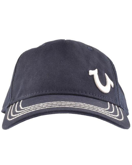 True Religion - Blue Horseshoe Logo Cap Navy for Men - Lyst ... 66c5ea40dd6e