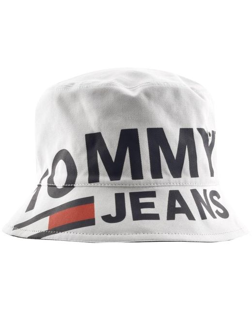 bb475a5b72d ... Tommy Hilfiger - Logo Bucket Hat White for Men - Lyst ...