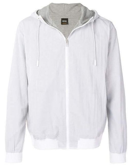 451a6c9a BOSS - White Hooded Summer Jacket for Men - Lyst ...