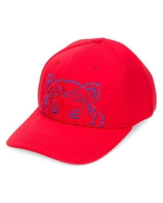 KENZO - Red Tiger Embroided Cap for Men - Lyst
