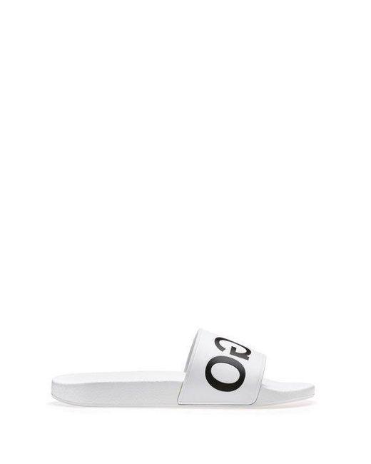 5e0e4937a93 HUGO Reverse-logo Pool Slider Sandals In White in White for Men - Lyst