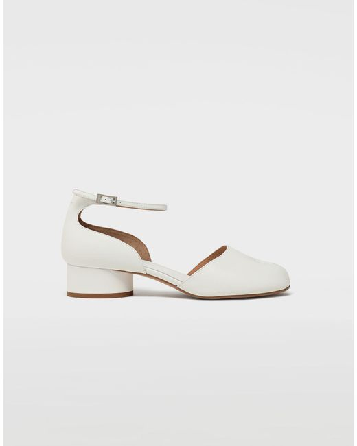 176258b9a61 Maison Margiela - White Tabi Leather Ankle Strap Shoes - Lyst ...