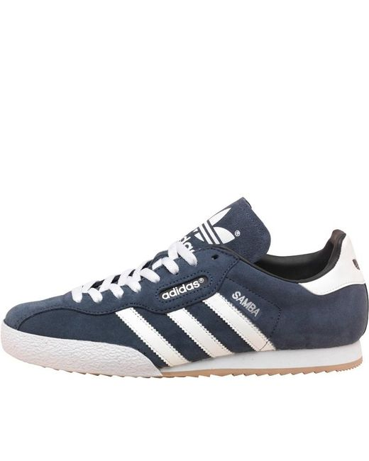 adidas samba super scamosciato formatori originali / bianco / gomma in blu marina