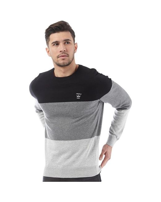 Firetrap - Colour Block Crew Knit Jet Black/greys for Men - Lyst