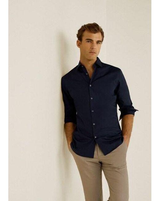 b5ba03179098 Mango - Blue Slim-fit Stretch Cotton Shirt Navy for Men - Lyst ...