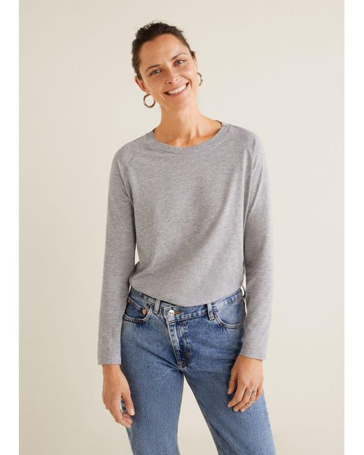 Mango - Gray Organic Cotton T-shirt - Lyst