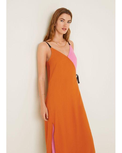 059e233d921 ... Mango - Orange Bow Bicolor Dress - Lyst ...