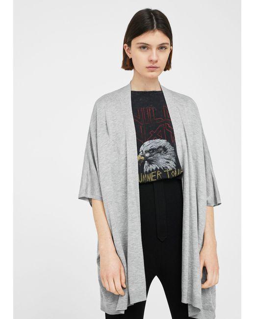 Mango | Gray Fine Knitted Jacket | Lyst