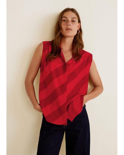 Mango - Red Flowy Striped Blouse - Lyst