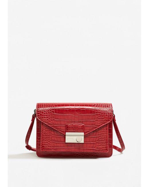 Mango | Red Croc-effect Cross Body Bag | Lyst
