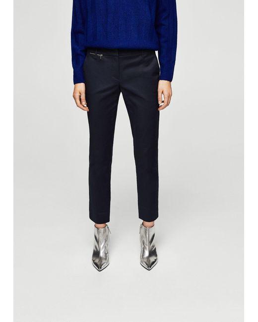 Mango | Blue Zipped Straight Trousers | Lyst