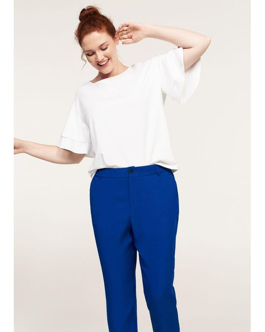Violeta by Mango | Blue Flowy Straight-fit Trousers | Lyst