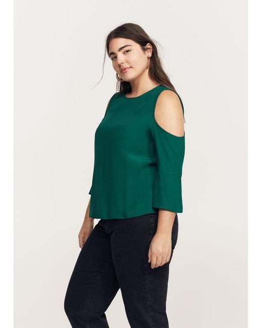 Violeta by Mango | Green Flowy Off-shoulder Blouse | Lyst