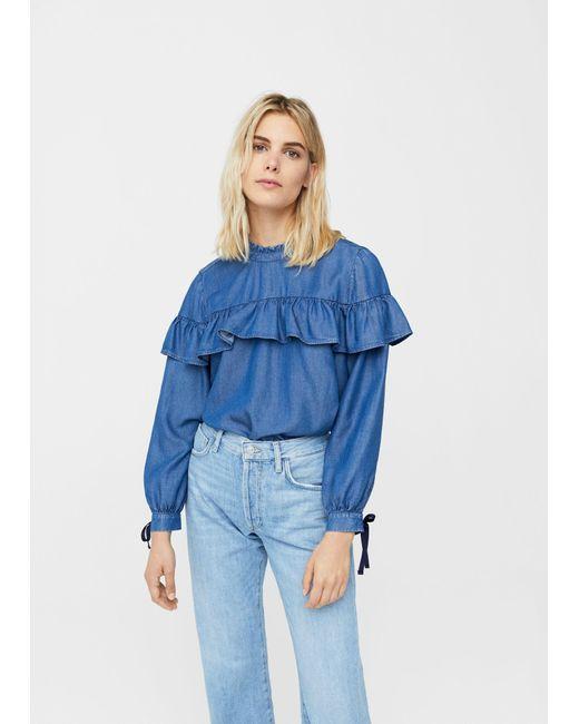 Mango   Blue Frilled Denim Shirt   Lyst
