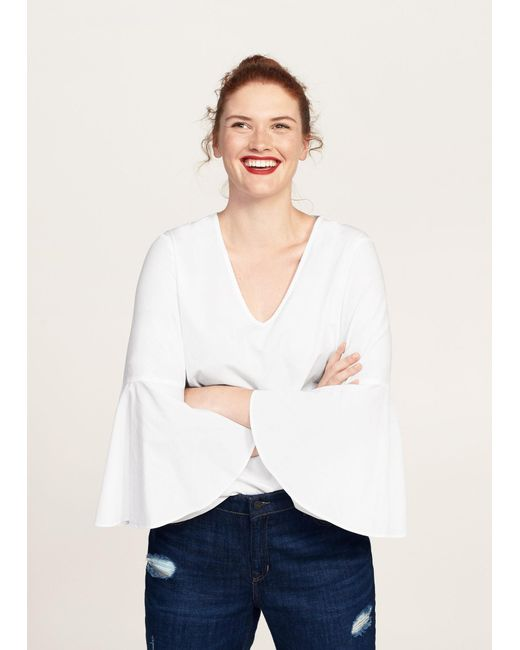 Violeta by Mango | White Flared Sleeve Blouse | Lyst