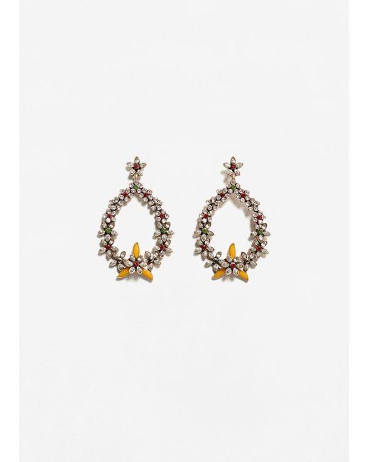 Mango | Metallic Flower Pendant Earrings | Lyst