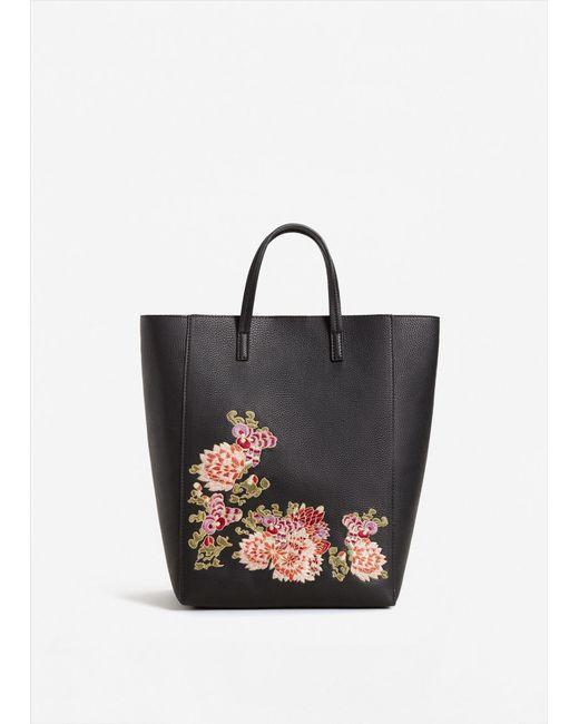 Mango   Black Floral Embroidery Shopper Bag   Lyst