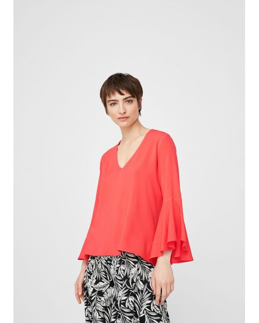 Mango | Red Ruffled Sleeve Blouse | Lyst