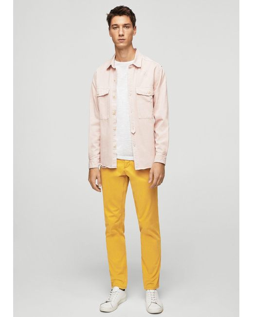 Mango | Yellow Slim-fit Cotton Chinos for Men | Lyst