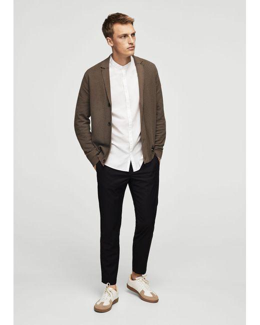 Mango   Brown Lapel Cotton Cardigan for Men   Lyst