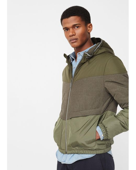 Mango | Multicolor Contrast Panels Quilted Coat for Men | Lyst