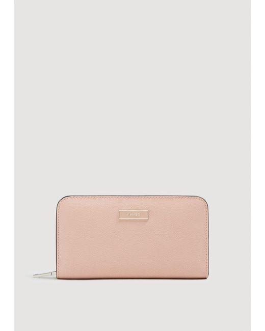 Mango - Pink Zip Pebbled Wallet - Lyst