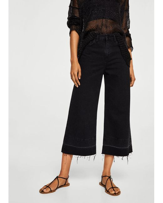 Mango - Black Culotte Relaxed Jeans - Lyst