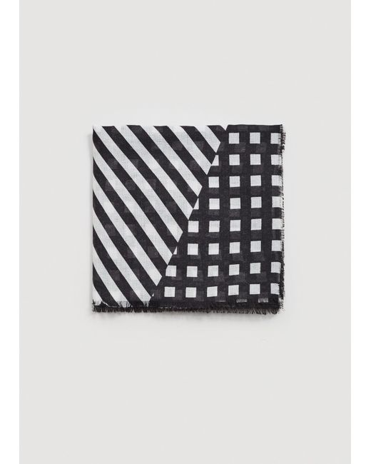 Mango - Black Striped Lightweight Scarf - Lyst